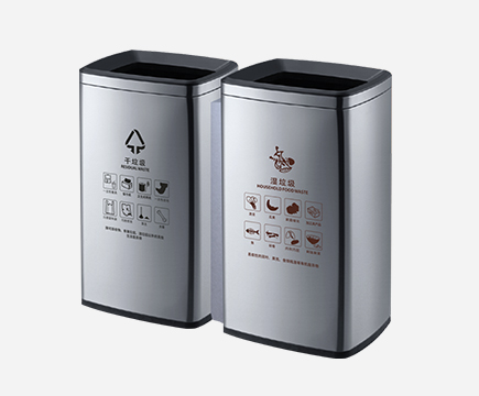 MAX-SN364 Indoor 2 Kompartiment Edelstahl Recycling Double Trash Can