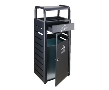 MAX-HK178 Street Black Trash Can Ashtray Stand Bin Top Metall Mülleimer Outdoor Gardens Abfalleimer
