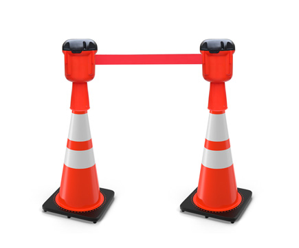 LG-M117 5m-10m Dauerhaltbarer Kunststoff-Red Highway Safety Roadway Warning Band Retractable Barrier Traffic Cone Stanchion