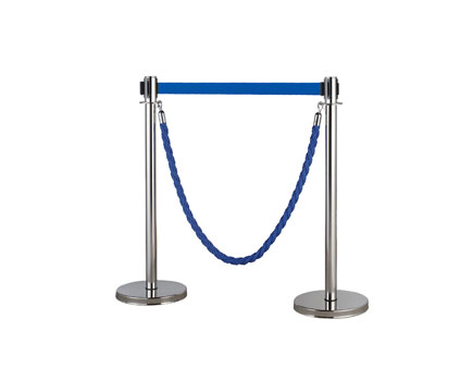 LG-A6 SS Queue Barrier Pole Control Crowd Retractable Rope/Gürtel Kuh Double Function Stanchion