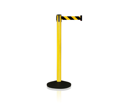 LG-B5 Yellow Control Crowd Retractable Straight Post Belt Stanchions