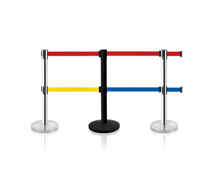 LG-W1 VIP Crowd Control Dual Retractable Belt Queue Safety Stanchion Barrier Set