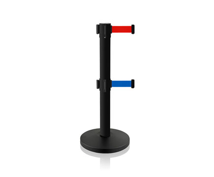 LG-W2 Double Belt Stanchion Posts in Black Steel mit retractable Red Barriers